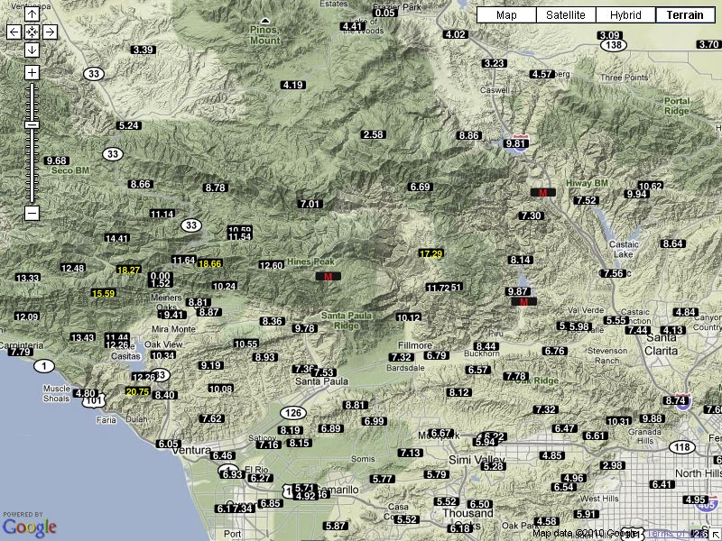 Here S Are Snapshots Of Provisional 7 Day Rainfall Totals In Ventura County